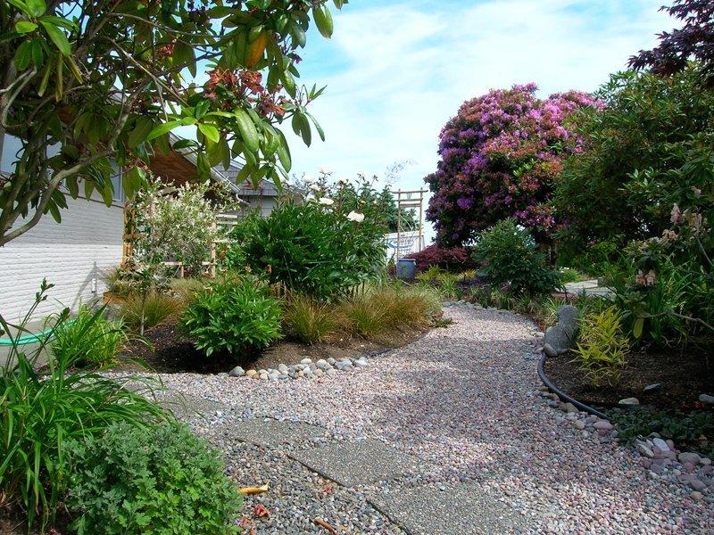 Yoga studio entrance garden